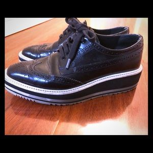 Prada leather platform oxford